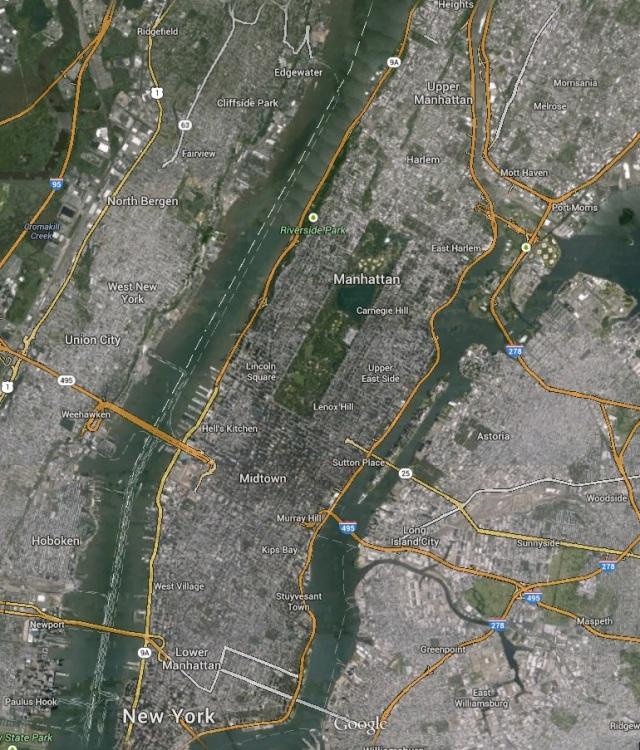 Para ter uma ideia das proporções desse parque, veja como ele ocupa uma grande área de Manhattan. O retângulo verde no meio da imagem é o Central Park. Imagem retirada do Google Maps.