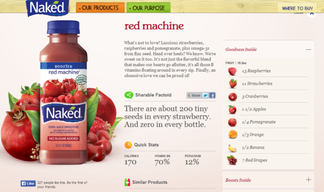 Como exemplo, o Naked sabor Red Machine. Fonte: print do site http://www.nakedjuice.com/our-products/juice/red-machine