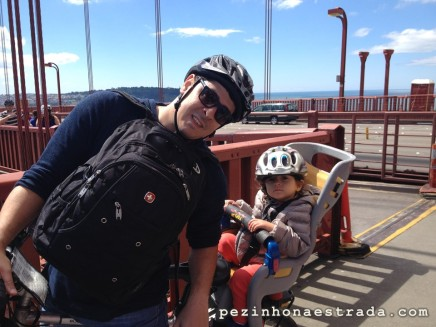 Cruzando a Golden Gate Bridge de bike