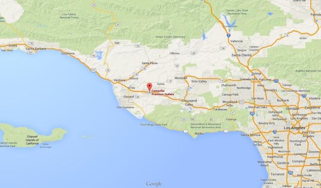 Camarillo Premium Outlets, localizado em Camarillo, entre Santa Barbara e Los Angeles (clique para ampliar). Printscreen do Google Maps.