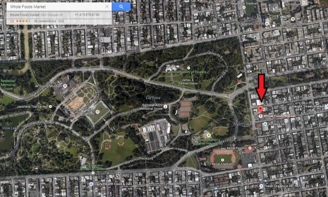 O Whole Foods Market fica onde está a gotinha vermelha e a grande área verde é um pedacinho do Golden Gate Park. Foto: Print do Google Maps