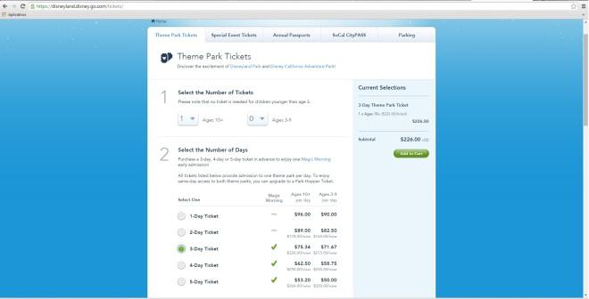 Print do site oficial de compra de ingressos da Disney