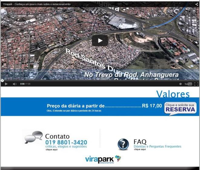 ViraPark - site com o número errado / incompleto. Fonte: print da tela do site do ViraPark, em 15/04/2015.
